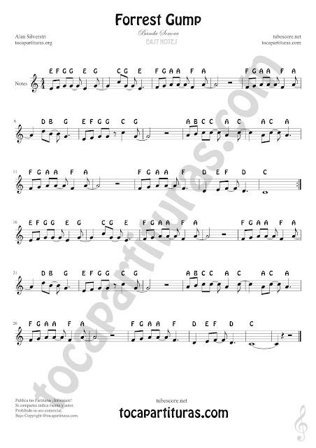 Forrest Gump partituras con notas en nomenclatura inglesa