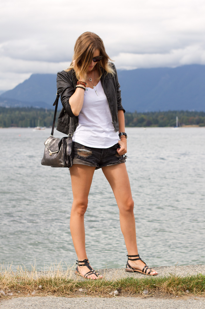 Vancouver Fashion Blogger, Alison Hutchinson, wearing a casual look consisting of a forever 21 leather jacket, Witchery white tee, One teaspoon Hawks short in black and dark blue, black gladiator sandals, Sass & Bide sunglasses, and tiffany, pyrrha and La Dama Necklaces