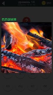 Яркое пламя от костра, который постепенно превращается в потухшие угли