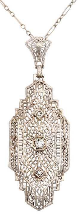 Art Deco 'lighter than air' white gold filigree and diamond pendant.