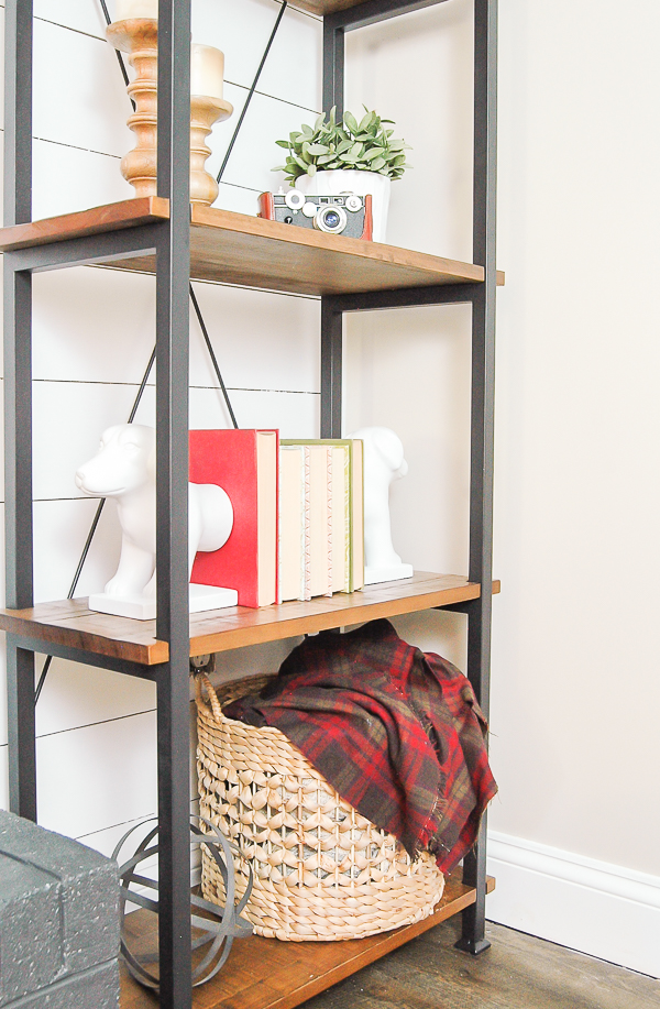 mixed metal wood and metal shelf