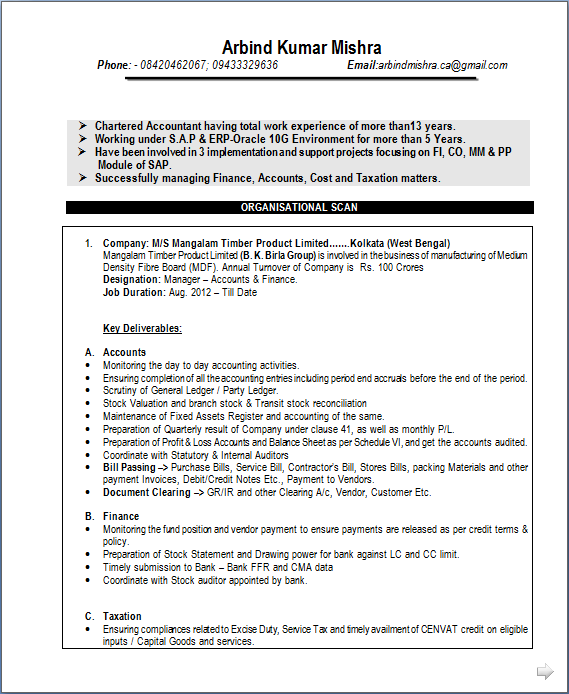 Resume With 1 Year Experience Samples. sap sd resume for 2 years ...