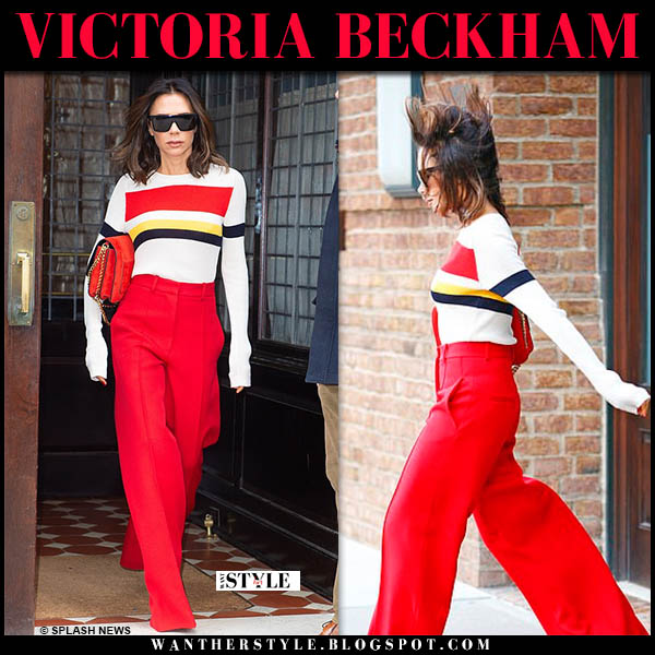 Victoria Beckham in white striped sweater and red wide-leg pants celebrity smart style november 28