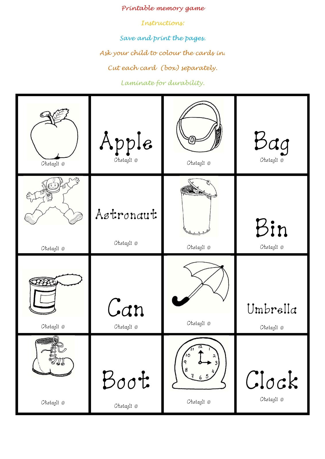 I Teacher Printable Memory Game
