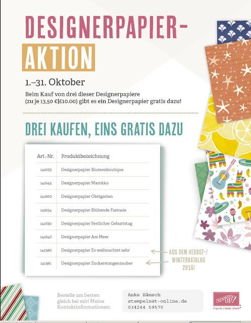 Designerpapier, Aktion im Oktober, Stampin up