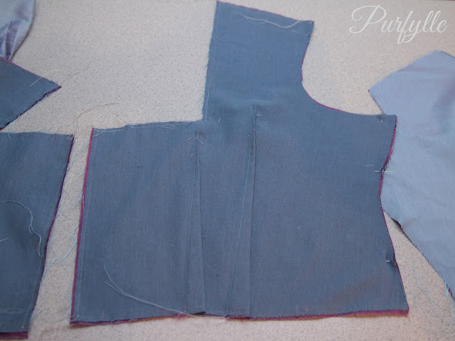 interlined bodice front - inside