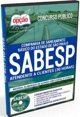 Apostila SABESP pdf  2018 Atendente a Clientes