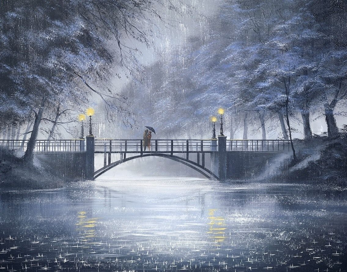 11-We-Meet-At-The-Same-Place-Jeff-Rowland-Paintings-of-Romantic-Scenes-in-the-Rain-www-designstack-co