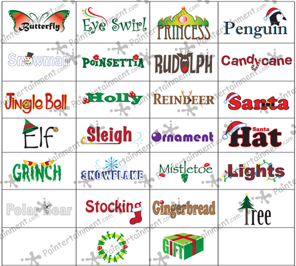 Paintertainment New Christmas Word Menu Designs Now Available!