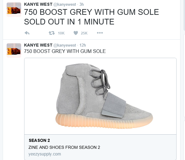 a6e18087e1a Kanye West who announced the sale of the Adidas Yeezy Boost 750 Grey Gum  last week launched its sale online yesterday and it sold out.