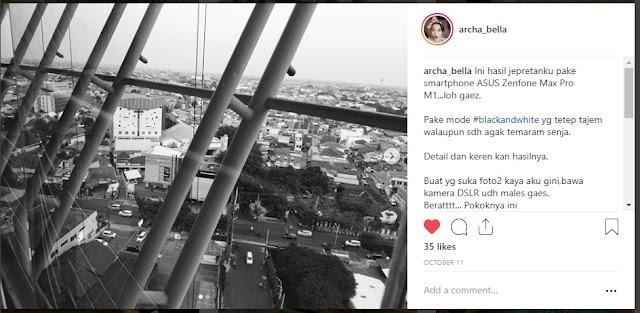 Hasil foto dengan menggunakan kamera pada ASUS ZENFONE MAX PRO M1 . (Source: IG @archa_bella)