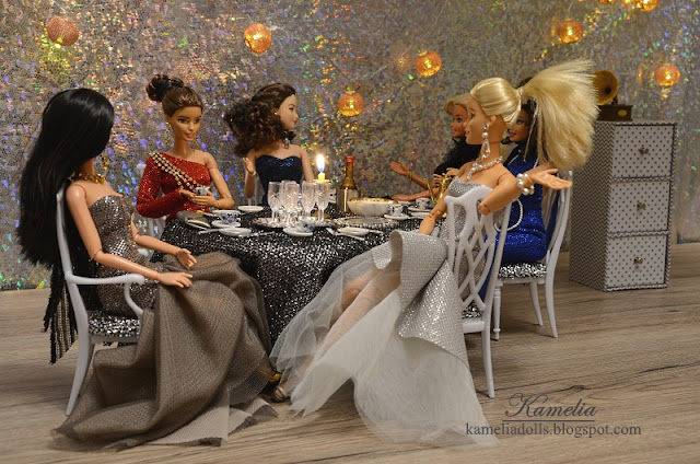 Tule and brocade dresses for Barbie dolls.