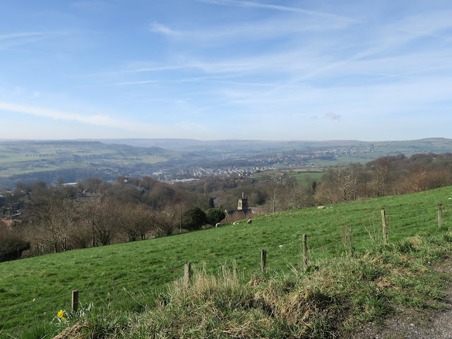 Warley Church in dip with Calder Valley and hills beyond.