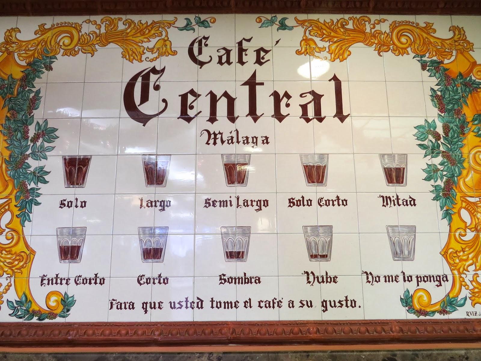 Cafe Central Coffee Menu in Málaga, Spain