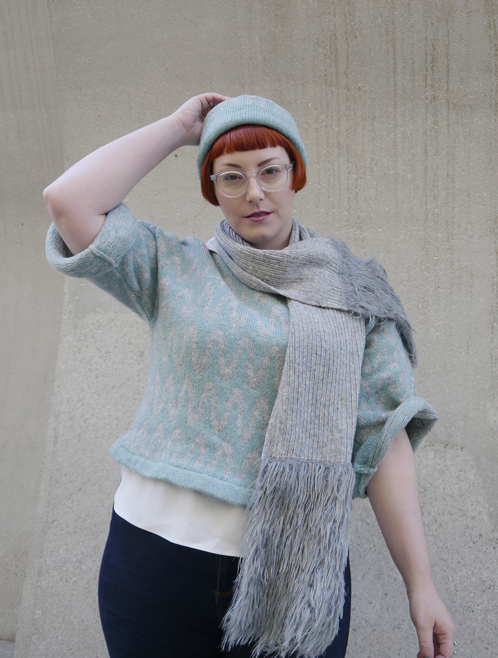 styled by Helen, Scottish blogger, Edinburgh, Edinburgh designer, independent knitwear designer, Yellow Bubble, Yellowbubble, luxury knitwear, Scottish knitwear, handmade knits, Scottish designer, matching hat and jumper, patterned jumper, Scottish street style, faux fur, casual knitwear