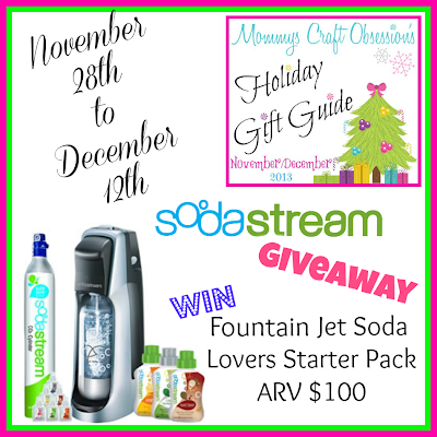 Enter to win the SodaStream giveaway. Ends 12/12/13.