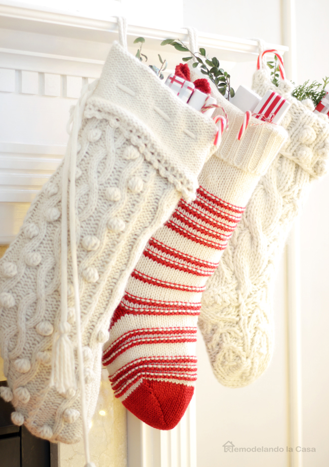 christmas mantel fireplace - White Knit Christmas Stockings