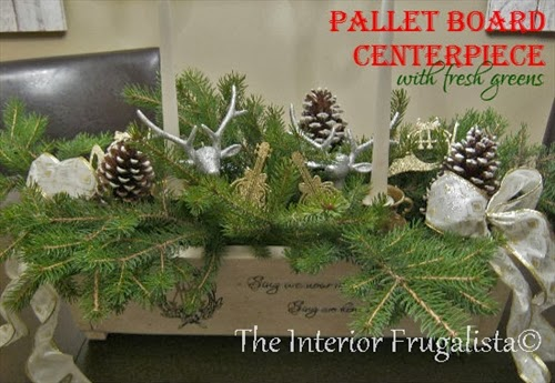 Completed festive pallet board centerpiece