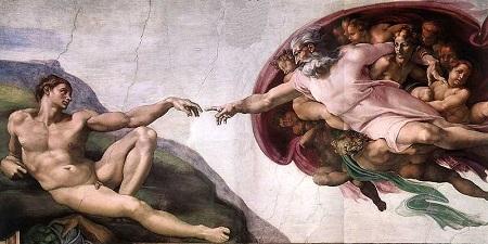 A Criação de Adão, pintura de Michelangelo
