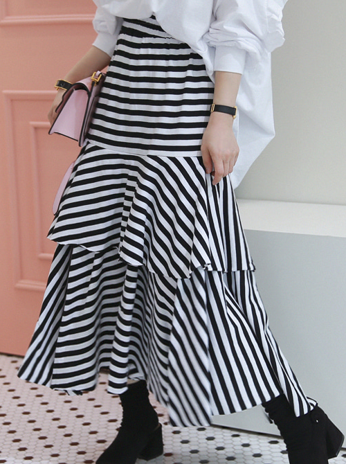 Tiered Flared Midaxi Skirt