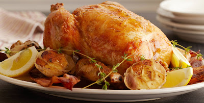 Whole Roasted Lemon-Herb Chicken on a Bed of Vegetables , Weight Watchers Recipe , 7 Smart Points