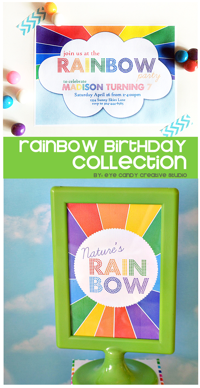 rainbow party, rainbows, rainbow party invite, rainbow party signs