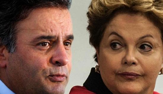 CELAS SEPARADAS - Aécio e Dilma: Ambos com um pé na cadeia