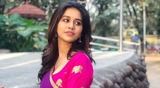 Nabha Natesh Cute Pics in Pink Half Saree
