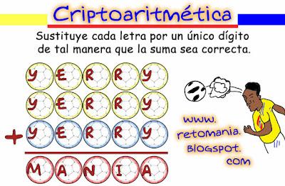 Alfaméticas, Criptoaritmética, Criptosuma, Mundial Rusia 2018, Mundial de fútbol, Juego de letras, Juego de Palabras