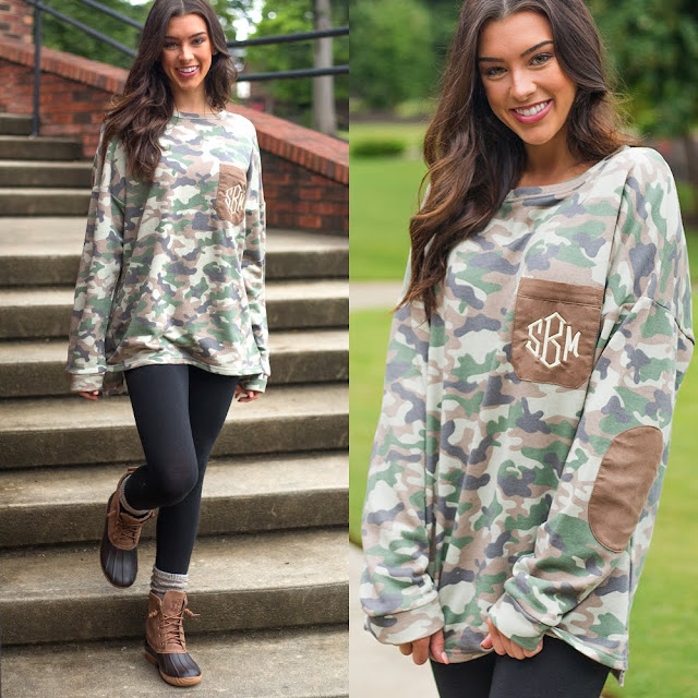 monogrammed camo preppy patch tunic with leggings and duck boots