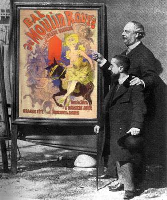 Cheret y Henri de Toulouse-Lautrec compartiendo impresiones de un carte.
