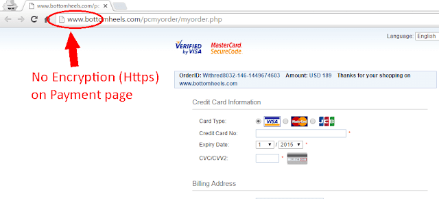 Fake website with no encryption on checkout page