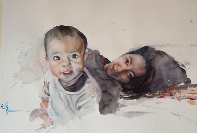Retrato de una madre y su hija en acuarela