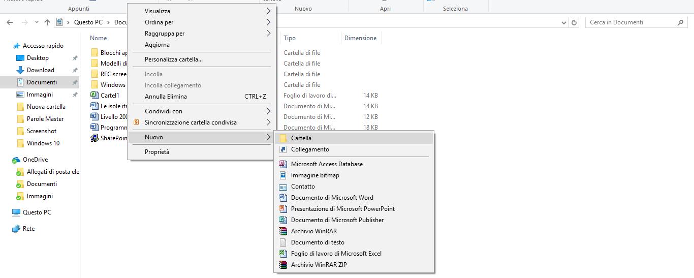 come creare una cartella in Windows 10 (1°modo)