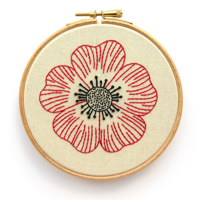 Embroidered poppy