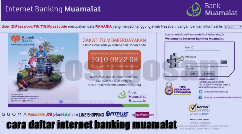 cara daftar internet banking muamalat