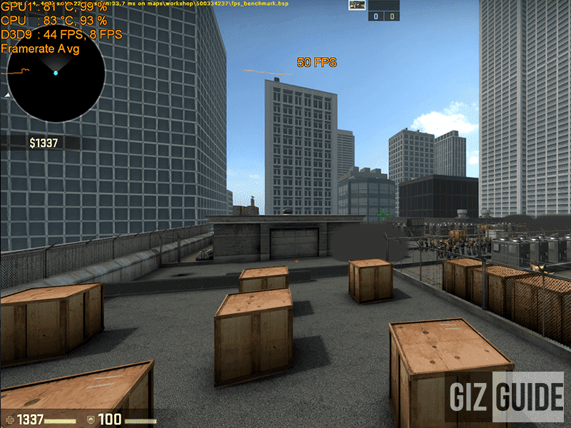 CS:GO played very well with an average of 54.0 fps at high settings at 1080p