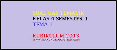 Download Soal UAS Tematik Kls 4 Tema 1 Indahnya Kebersamaan Kurikulum KTSP 2013, tipe PG 40 soal gratis
