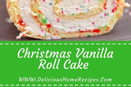 Christmas Vanilla Roll Cake #christmas #cake