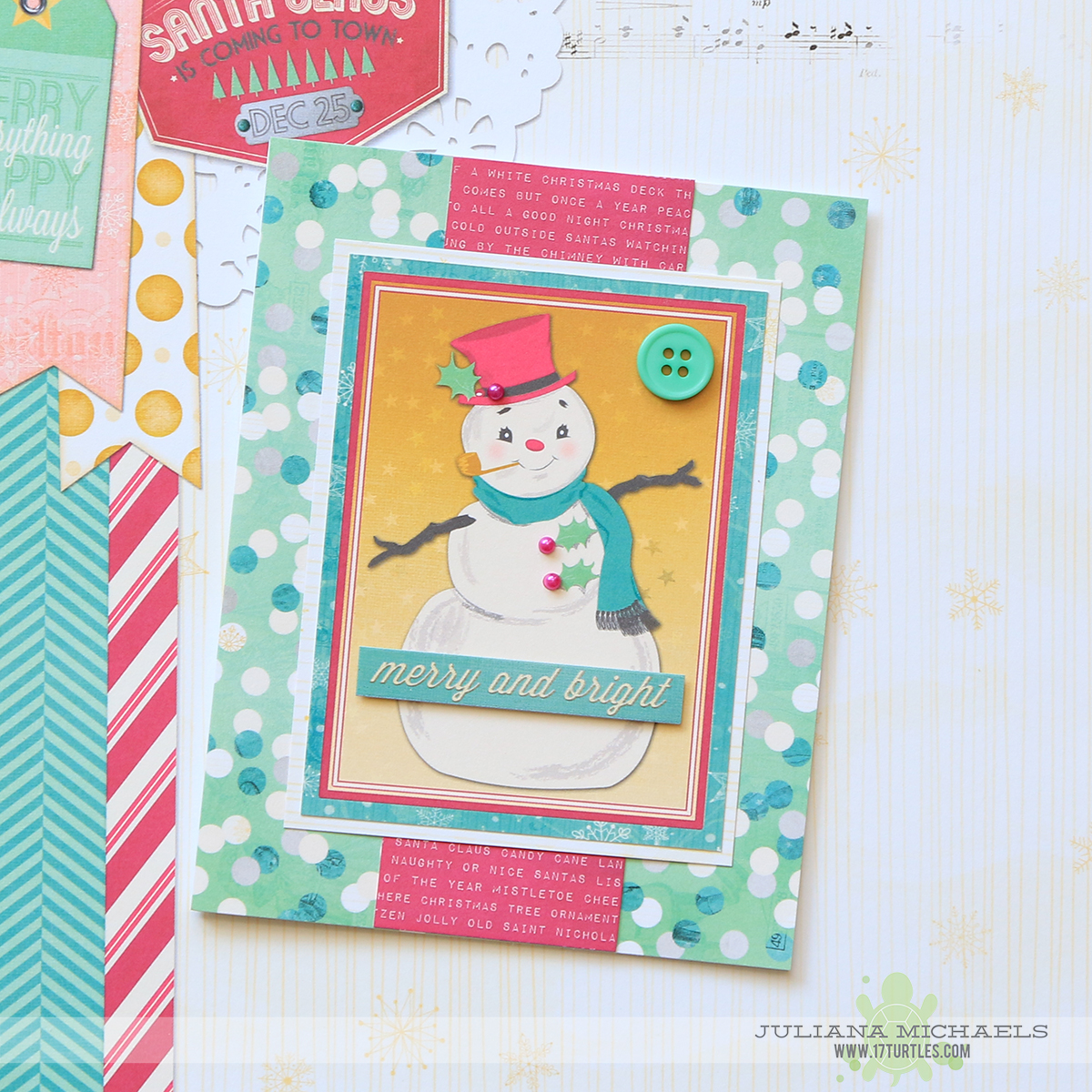 Merry and Bright Christmas Cards featuring BoBunny Candy Cane Lane by Juliana Michaels