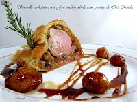 Solomillo en hojaldre con Foie trufado, cebolla caramelizada, setas y migas Inés Rosales