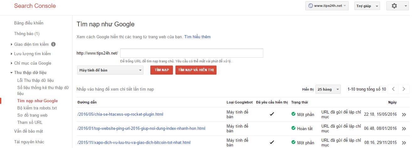 Sau khi post bài cứ phải submit lên google cho nó index ngay