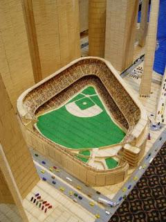 Maqueta de edificio famoso con palillos de dientes-estadio de baseball