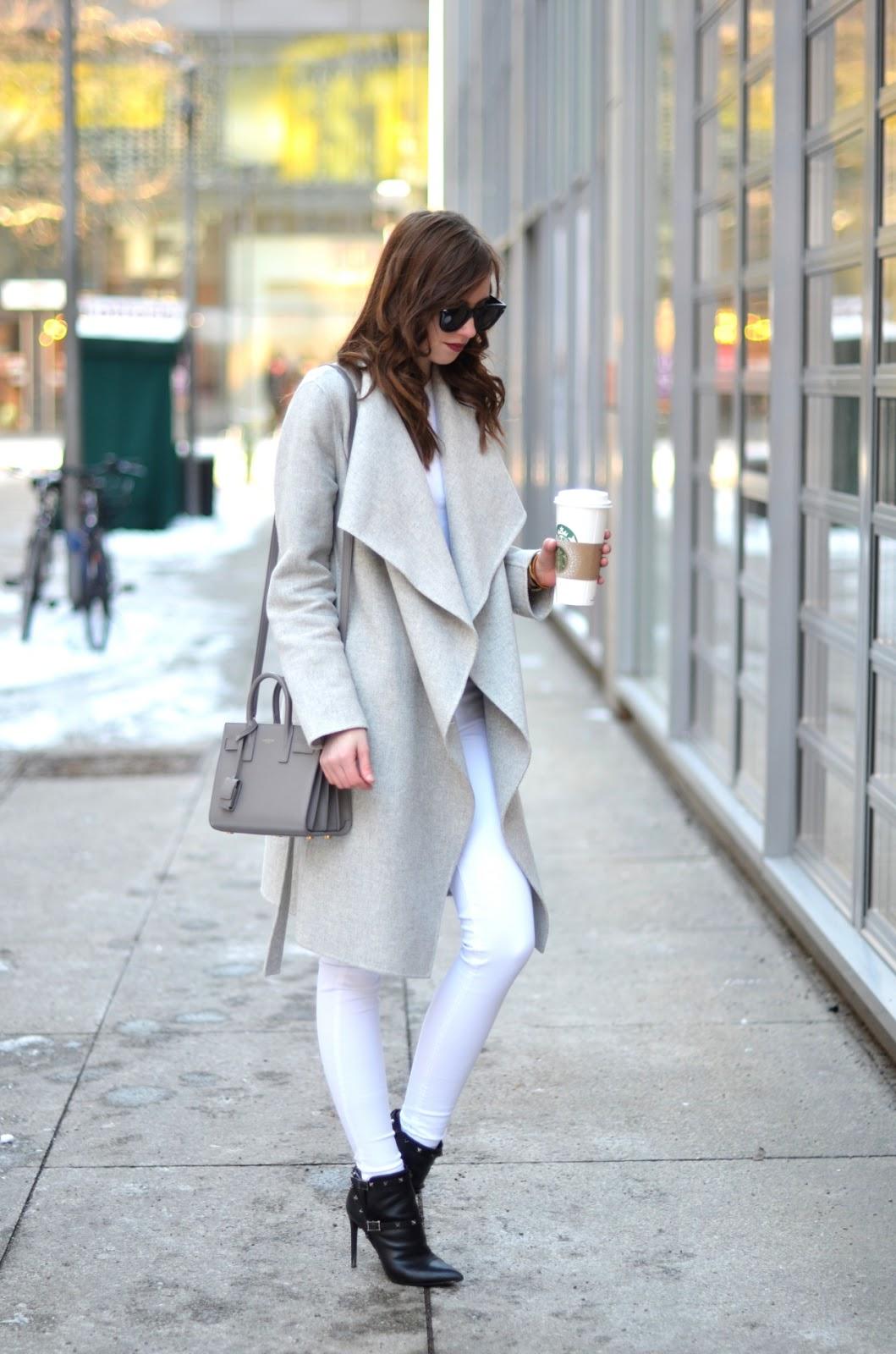 Vogue Haus - Grey Coat, Saint Laurent Bag, White Jeans @FashionInMySoul