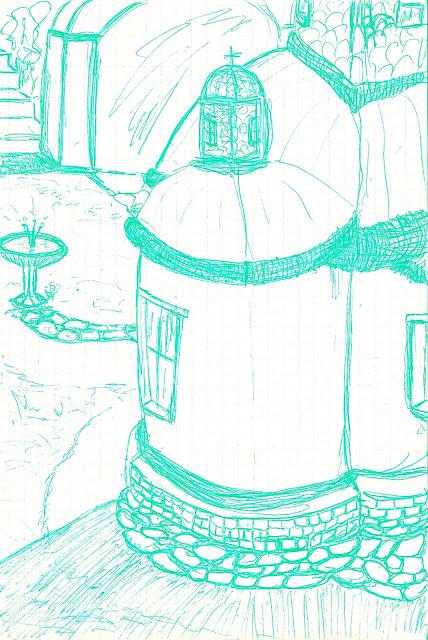 Ι. Μ. Μεγίστης Λαύρας - Πίσω από το Ιερόν 3 - Σχέδιο με στυλό μελάνης, ψηφιακά επεξεργασμένο από τον Στράτο