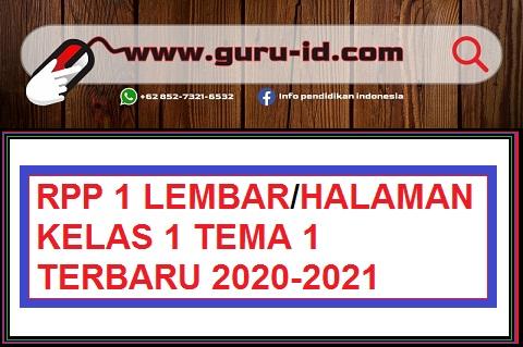 gambar rpp 1 lembar kelas 1 tema 1 Terbaru 2020-2021