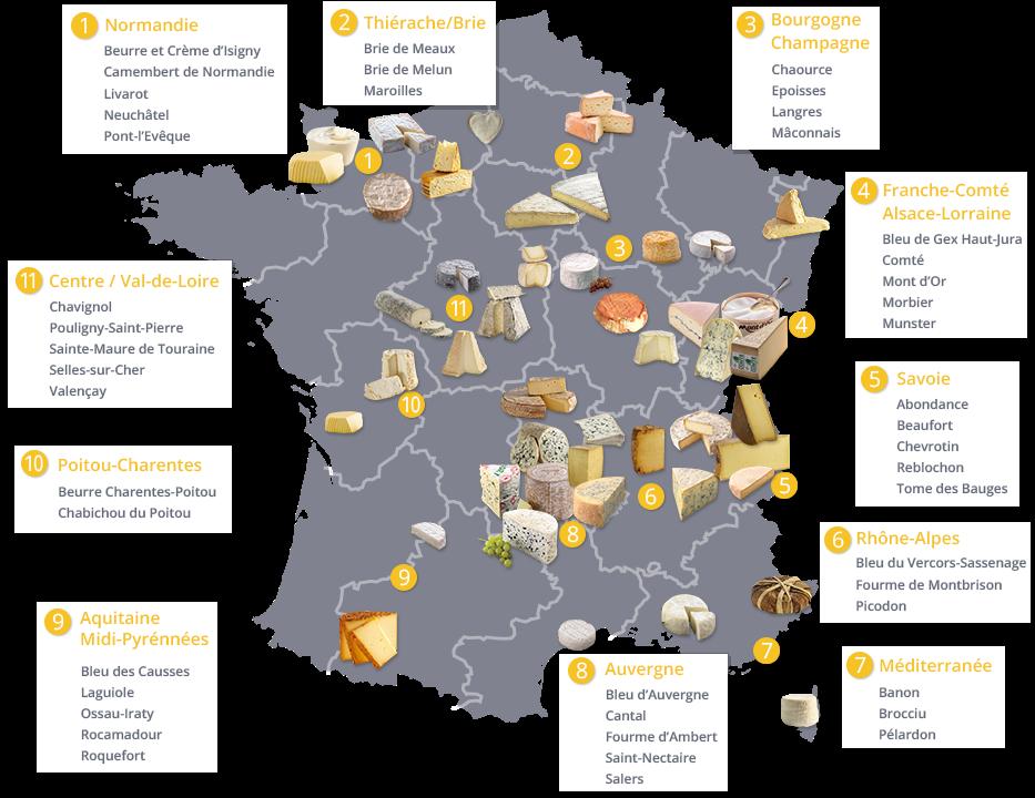 Autour de la gastronomie carte de france des fromages aop for Site francais