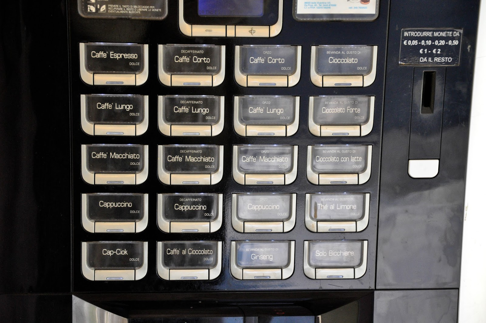 Close-up of a coffee vending machine, Vicenza, Veneto, Italy
