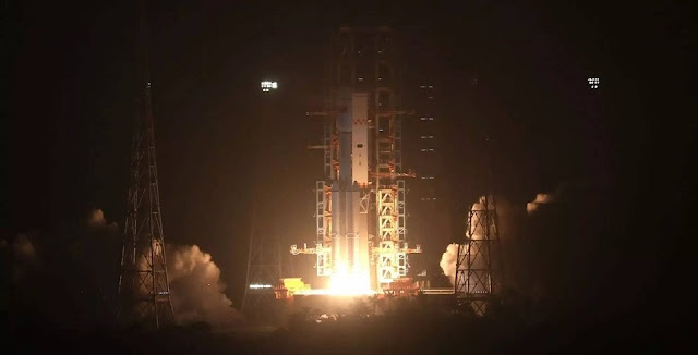 A Long March 7 rocket launches Tianzhou-1, China's first cargo spacecraft. Photo Credit: Xinhua