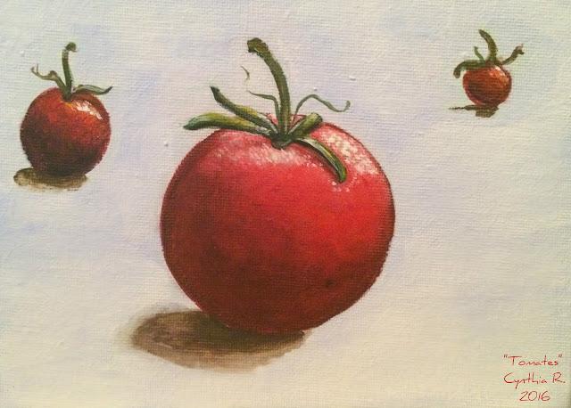tomatoes, tomates, pintura acrílica, pintura acrílica en canvas, 3 tomates, acrylic painting on canvas